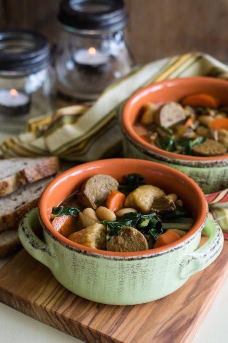 Vegan Chik'n Soup with Greens & Sweet Potato Gnocchi by An Unrefined Vegan