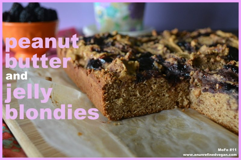 Vegan Peanut Butter and Jelly Blondie from An Unrefined Vegan