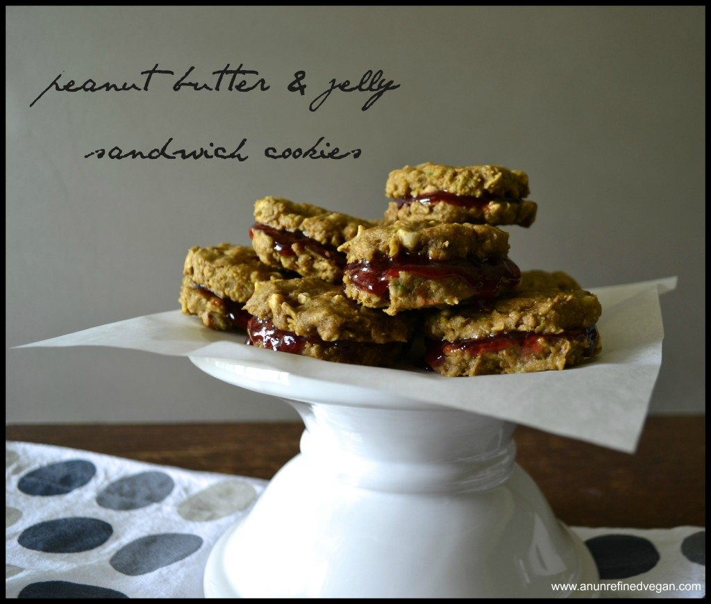 Vegan Peanut Butter and Jelly Sandwich Cookies from An Unrefined Vegan