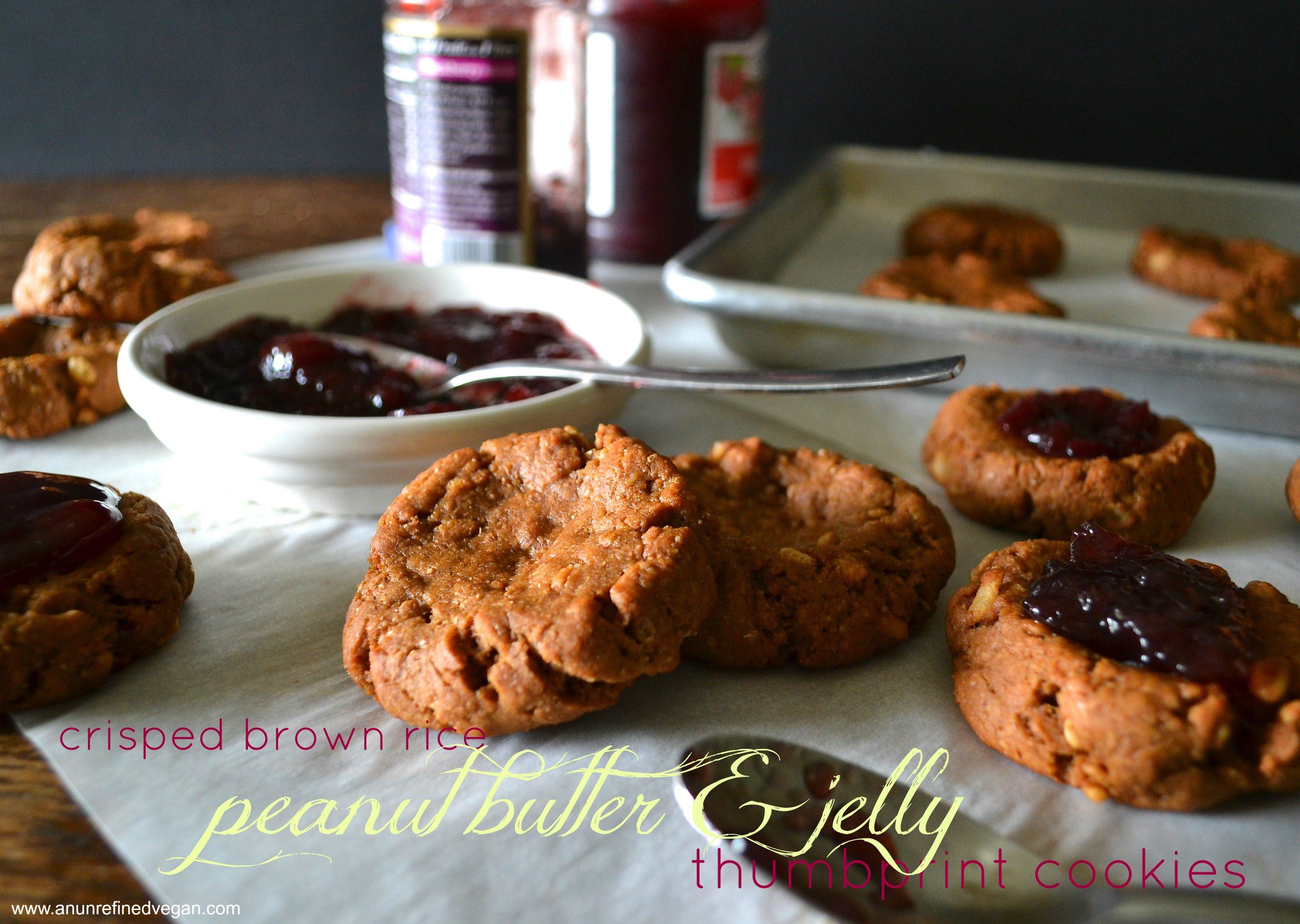 Brown Rice PB & J Thumbprint Cookies An Unrefined Vegan