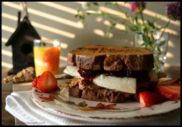 French Toast PB & J Sandwich An Unrefined Vegan