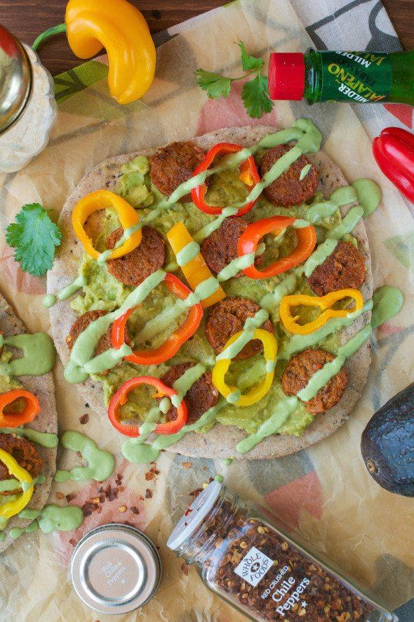 Vegan Chipotle Sausage, Peppers & Avocado Flatbreads An Unrefined Vegan