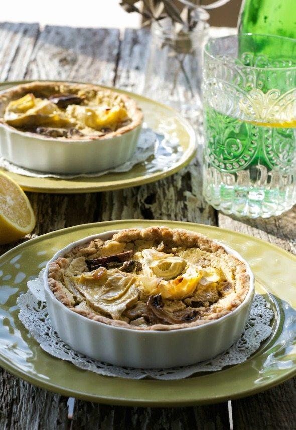 Mushroom, Caramelized Onion, & Artichoke Quiche An Unrefined Vegan