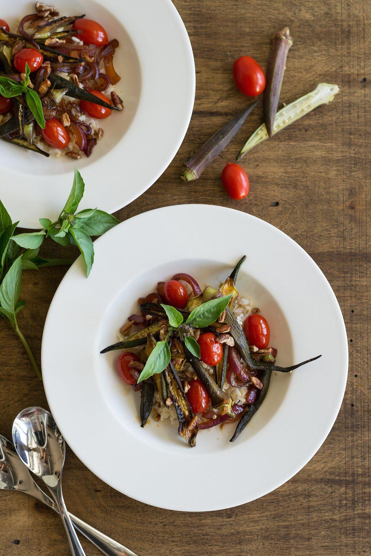 Vegan Okra and Cherry Tomato Stir-fry by An Unrefined Vegan
