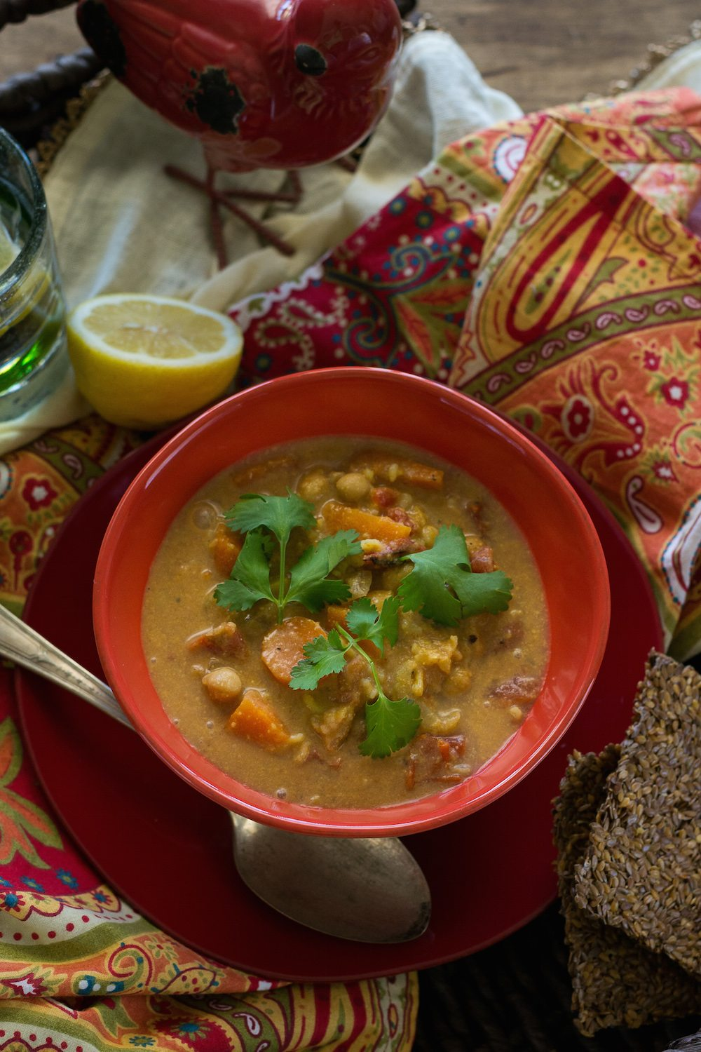 Vegan Spicy Chickpea & Brown Rice Soup by An Unrefined Vegan