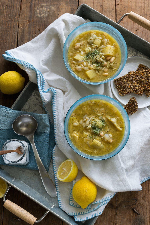 Lemony Potato Artichoke Orzo Soup by An Unrefined Vegan