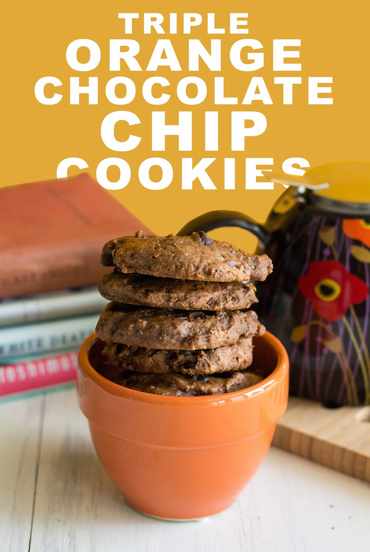 Triple Orange Chocolate Chocolate Chip Cookies by An Unrefined Vegan